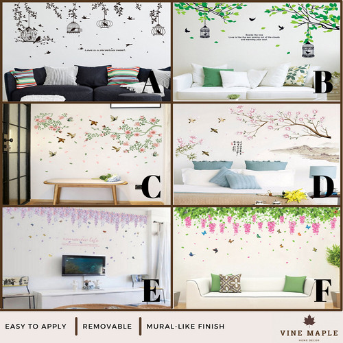 Foto Produk VineMaple Branch, Flower, Tree & Frame - Stiker Dinding / Wall Sticker - A - 50x70cm dari Vine Maple Home Decor