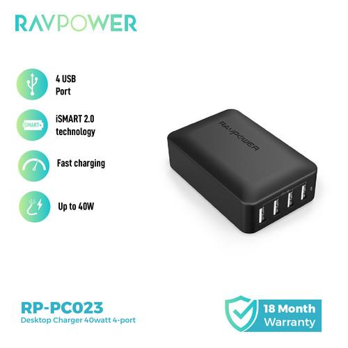 Foto Produk RAVPower Desktop Charger 40 Watt USB Charger EU&UK Adapter [RP-PC023] dari RAVPower Official Store