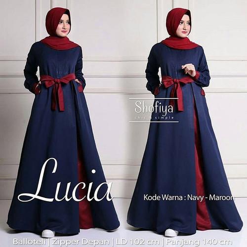 Foto Produk Baju Gamis Wanita Muslim Terbaru Lucia Dress Polos Syari Murah - Navy dari hijabafwa