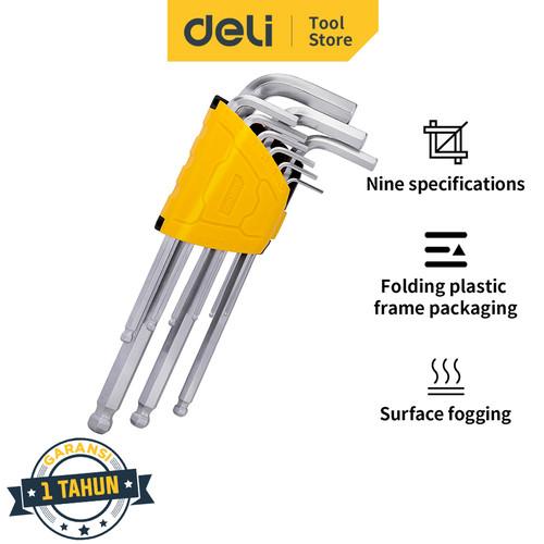 Foto Produk Deli Set Kunci L Panjang 9 Pcs Ukuran 1.5 - 10 mm Ujung Bulat DL30XX - Long dari Deli Tools Official