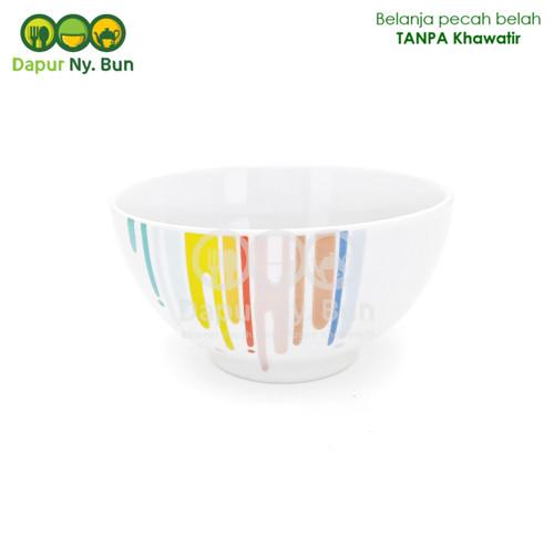 Foto Produk Mangkok Nasi Sedang Motif RAINBOW Ukuran 5 Inch / Mangkuk Sup dari Dapur Ny.Bun