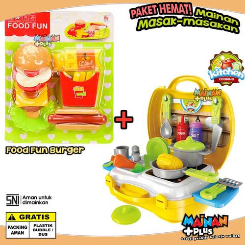 Foto Produk PAKET MAINAN ANAK PEREMPUAN MASAK MASAKAN KITCHEN SET FOOD BURGER dari MainanPlus