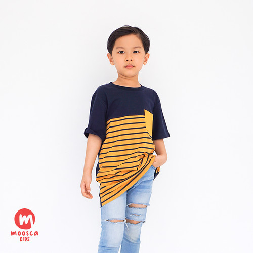 Foto Produk Moosca Kidswear Raven Tee Kaos Anak - Stripe Yellow - S dari Moosca Kidswear