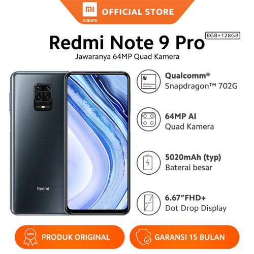 Foto Produk Xiaomi Official Redmi Note 9 Pro 8/128 GB Garansi Resmi Mi Smartphone - Interstellar Gr dari Xiaomi Official Store