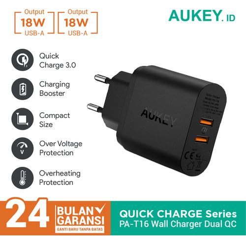 Foto Produk Aukey Charger PA-T16 2 Ports 36W Quick Charge QC 3.0 - 500076 dari Aukey Lampung
