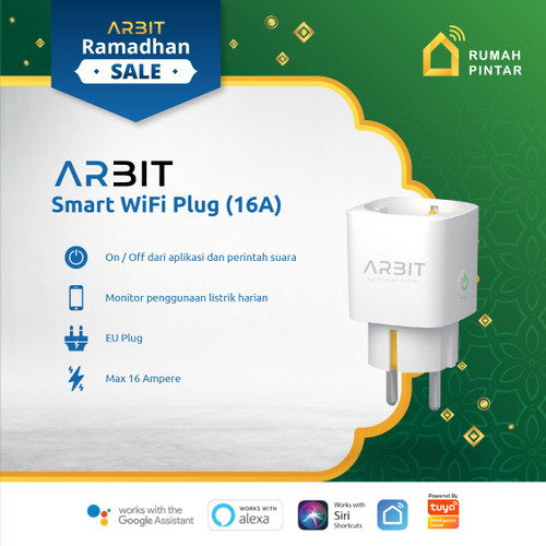 Foto Produk ARBIT Wifi Smart Plug Socket 16A with Power Meter Works Alexa Google dari ARBIT Official Store