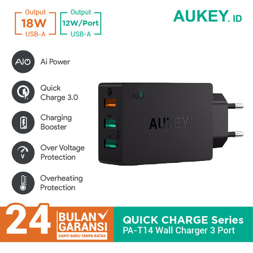 Foto Produk Aukey Charger PA-T14 3 Ports 42W Quick Charge QC 3.0 & AiQ - 500063 dari Aukey Lampung