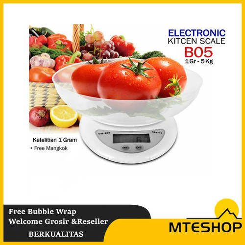 Foto Produk timbangan dapur timbangan kue timbangan digital 5kg - Putih dari MTEshop