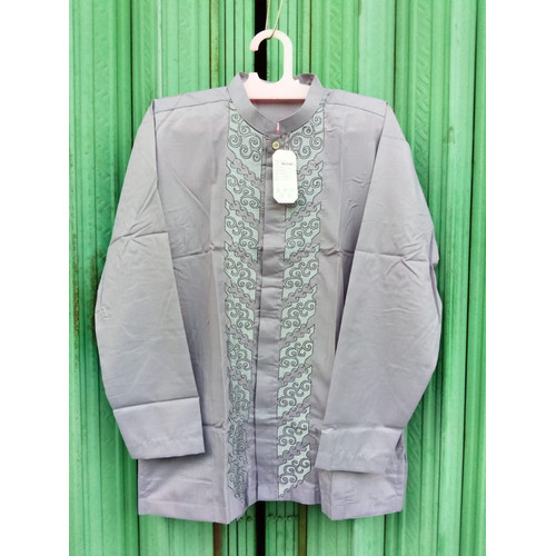 Foto Produk Baju Muslim Koko Dewasa Lengan Panjang ZrAP-0121 - Abu-abu, Size L dari Zarka Baby Shop