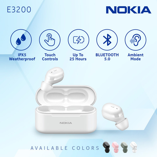 Foto Produk Nokia True Wireless TWS Earphone E3200 - White dari Nokia Audio Official Store