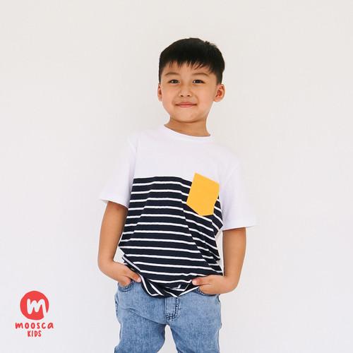 Foto Produk Moosca Kidswear Raven Tee Kaos Anak - Stripe Navy - L dari Moosca Kidswear