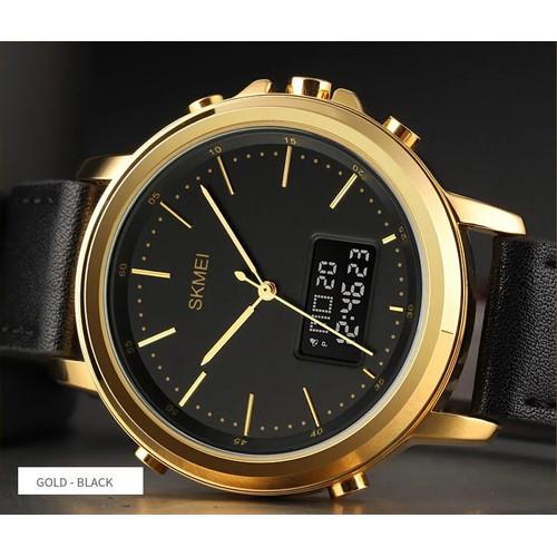 Foto Produk SKMEI 1652 Jam Tangan Dual Time Pria Kulit Casual Tahan Air 30M - GOLDBLACK dari Waktu.Shop