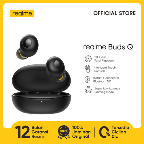 Foto Produk realme Buds Q [20-hour Total Playback 5.0, Super Low Latency] - Hitam dari realme Official Store