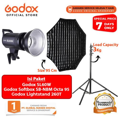 Foto Produk Godox SL60W Video LED Bowens Mount Paket Softbox + Lightstand dari Godox Official Store