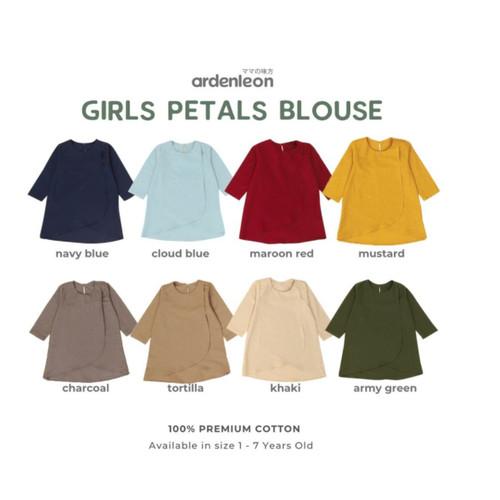 Foto Produk Ardenleon - Raya Girls Petals Blouse (Baju Muslim Anak Perempuan) - Navy Blue, 4L (5-6Y) dari Little Dreams Baby Shop