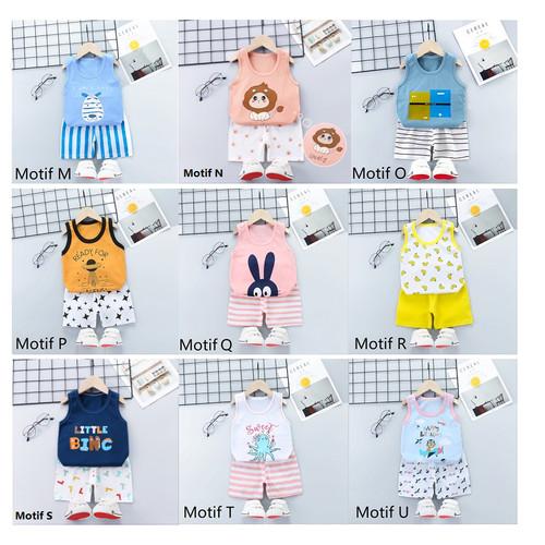Foto Produk Baju Bayi / Setelan Bayi Anak / Setelan Oblong Singlet Bayi Anak - MOTIF R dari M&K ( Mom & Kids)