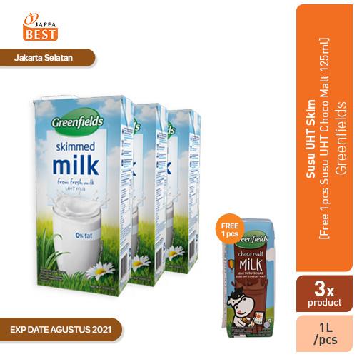 Foto Produk Susu Greenfields UHT Skimmed 3Pcs x 1L FREE Susu UHT Choco Malt 125 ml dari Japfa Best Jakarta