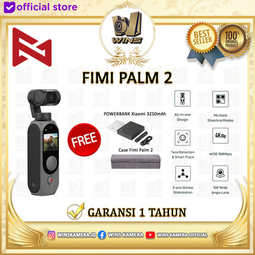 Foto Produk FIMI PALM 2 Gimbal Camera Upgraded 4K 100Mbps WiFi 308 Original - Standard Box dari Wins Kamera