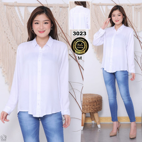Foto Produk kemeja wanita katun rayon twill 30s - Putih, M dari Deka new fashion