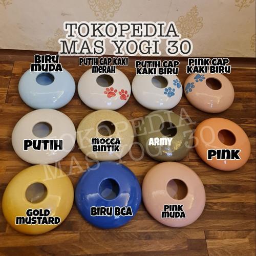 Foto Produk cat bowl keramik/tempat minum kucing keramik lubang tengah - Biru Muda dari mas yogi 30