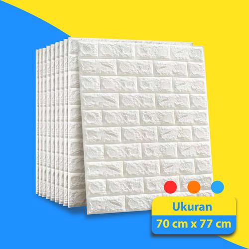 Foto Produk WALLPAPER STIKER MOTIF BATA PUTIH   WALLPAPER KAMAR, RUANG, BAHAN FOAM - Putih Tebal 3mm dari Aiwant Store