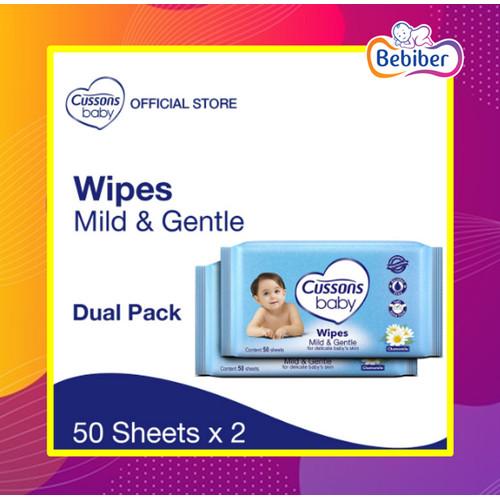 Foto Produk Cussons Baby Wipes 50's (BELI 1 GRATIS 1) / BEBIBER - Wipes Biru dari tokobebiber