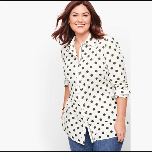 Foto Produk Kemeja Wanita - Talbots Classic Cotton Shirt Polkadot Print Original - P dari kenso collection