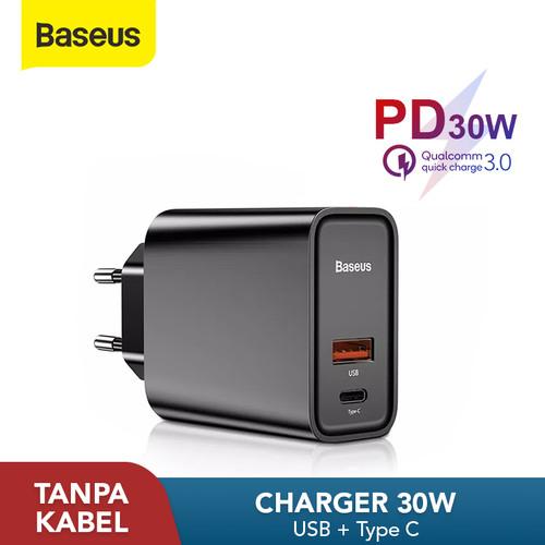 Foto Produk KEPALA CHARGER BASEUS FAST CHARGING QC3.0/4.0 DUAL USB / TYPE-C 30W 5A - USB TC HITAM dari Baseus Official Store