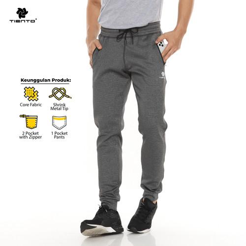 Foto Produk Tiento Celana Jogger Panjang Pria Long Pants Joger Basic Grey Sporty - M dari TIENTO