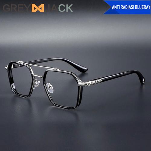 Foto Produk Grey Jack Kacamata Anti blueray TR90 metal Retro design unisex FA0039 - black dari Grey Jack