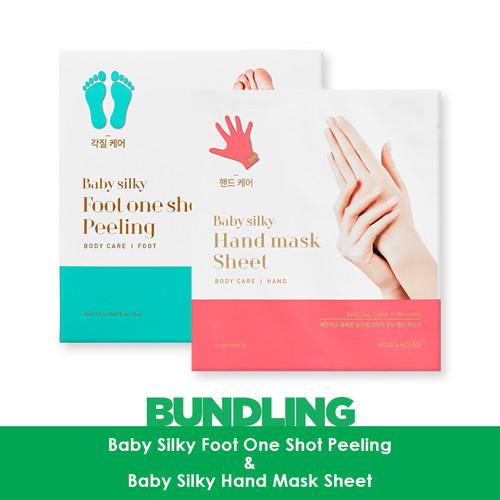 Foto Produk [BUNDLING] Baby Silky One Shot Peeling + Baby Silky Hand Mask dari Holika Holika Indonesia