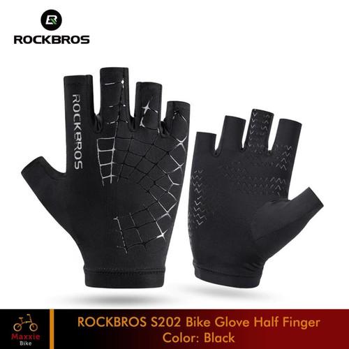 Foto Produk ROCKBROS S202 Half Finger Gloves Sarung Tangan Sepeda Elastic Black - L, Black dari Maxxiebike
