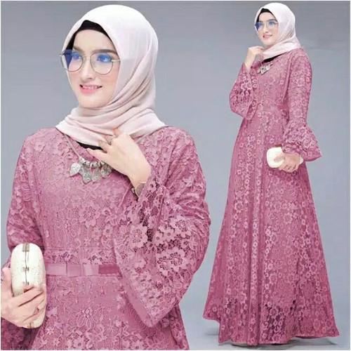 Foto Produk Gamis Maxi / Baju Dress Wanita Muslim Yunita Brukat Tulang Mewah HQ - Pink dari FERI'S TOKO