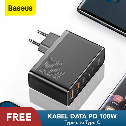 Foto Produk KEPALA CHARGER BASEUS 100W GAN2 PRO FAST CHARGER 4.0 3.0 PD TYPE C - Hitam dari Baseus Official Store