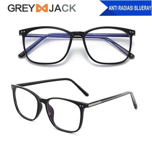 Foto Produk Grey Jack Kacamata Frame antiradiasi blueray dewasa unisex TR90 8242 - C1black glossy dari Grey Jack