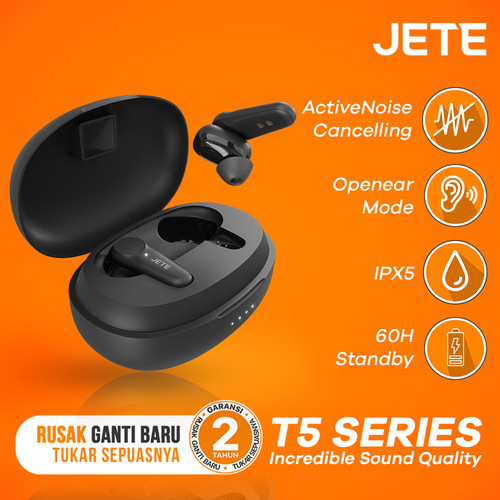 Foto Produk JETE TWS T5 With Active Noice Canceling - IPX5 - Openear dari JETE Official Surabaya