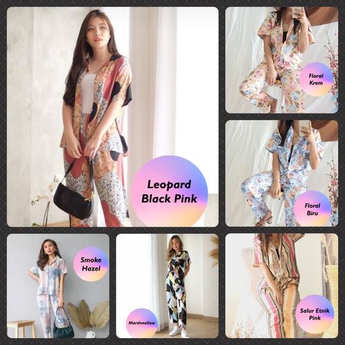 Foto Produk Setelan Piyama Wanita HomeWear One Set Trendy Bisa Untuk Outfit Jalan - LeopardBlackPin dari DjiehanClothing