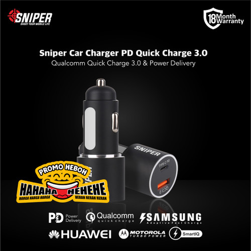 Foto Produk Sniper Car Charger 2 Port PD & Qualcomm QC 3.0 Fast Charge dari Sniper Indonesia