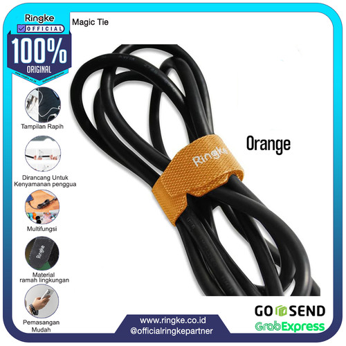 Foto Produk Rearth Ringke Pengikat Kabel Magic Cable Tie Perapih Kabel - Orange dari Official Ringke Partner