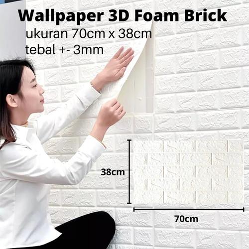 Foto Produk Wallpaper Dinding 3D Foam Batu Bata 70cm x 77cm dari one mobile 1