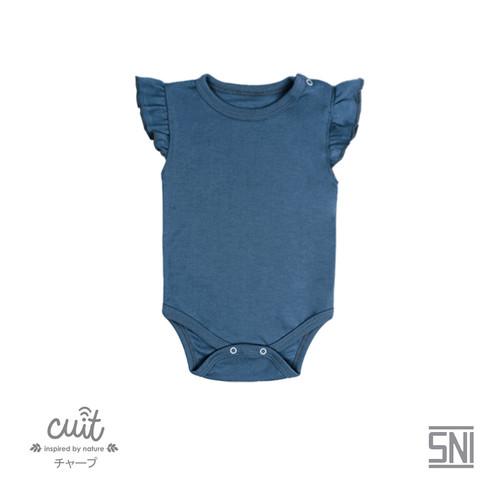 Foto Produk CUIT Bodysuit Ruffle Short Sleeve (Jumper Bayi) - BLOCK COLOR - BLUE, NB dari Cuit Baby Wear