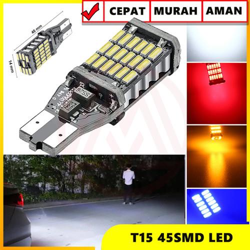 Foto Produk LAMPU LED MUNDUR T15 T10 W16W CANbus 45 LED SUPER BRIGHT ERROR FREE - Merah dari Modifikasi Market