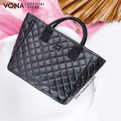 Foto Produk VONA Tote Shoulder Bag Bordir Quilted - Hitam - GISELLE - Hitam dari VONA