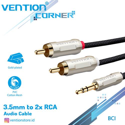 Foto Produk Vention BCI Kabel Audio Aux 3.5 Male To 2 RCA Male Braided Zinc Alloy - BCIBG dari VENTION by SinsheTekno