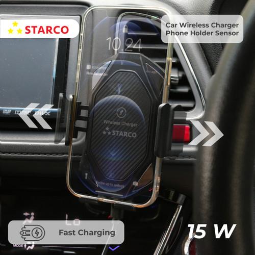 Foto Produk Starco Wireless Car Charger Phone Holder Sensor Fast Charging 15W dari Starco Official Store