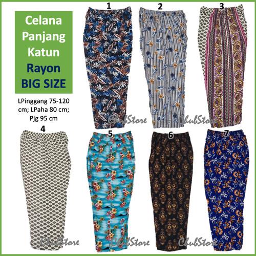 Foto Produk Celana Hawaii Panjang Katun Rayon Big Kulot - Celana Tidur Santai - 1 dari ChubStore