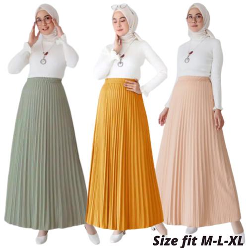 Foto Produk Rok Plisket - Rok Wanita Bahan Premium - MUSTRAD dari Olina_Shop