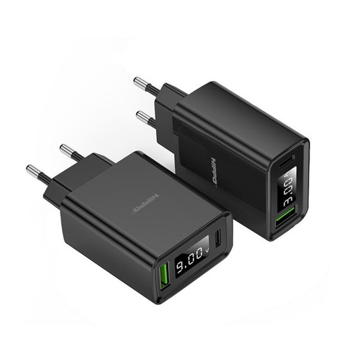 Foto Produk Hippo Turbo Adaptor Charger Quick Charge 4 PD18W VOOC With Digital LED - Hitam dari Hippo Elite