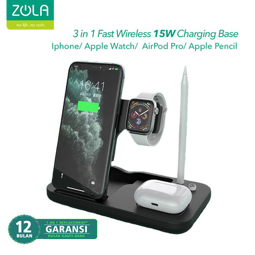 Foto Produk Zola 4 IN 1 Fast Wireless Charger 15W Pad Dock For Airpods & Iwatch dari Zola Indonesia