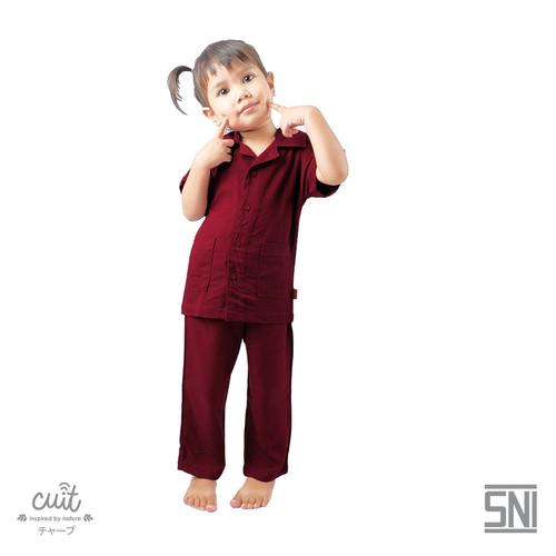 Foto Produk CUIT KIDS Super Soft Premium Viscose Hisha Pajama Anak Nami Series - Burgundy Wine, XXL (3-4 tahun) dari Cuit Baby Wear